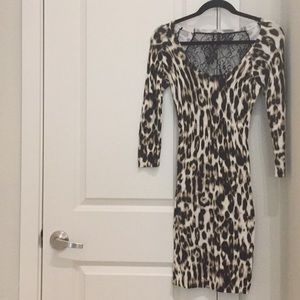 Guess bodycon leopard cheetah animal print dress S